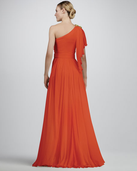 Rope-Shoulder Silk Gown