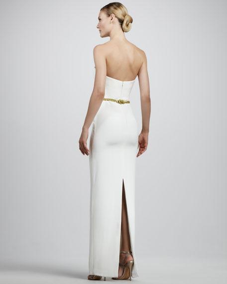 Cord-Waist Strapless Gown
