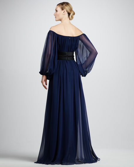 Cord-Detail Off-Shoulder Gown