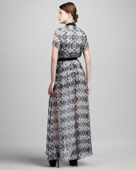 Dello Printed Sheer-Skirt Maxi Dress