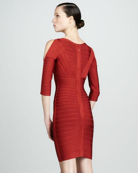 Slit-Sleeve Bandage Dress, Red