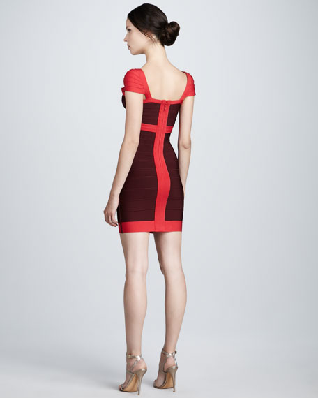 Contrast Cap-Sleeve Bandage Dress