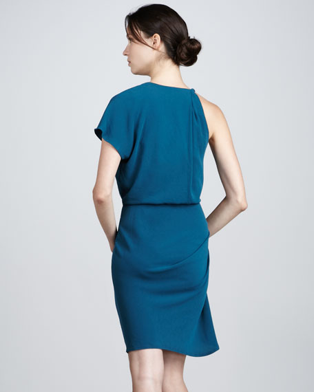 Twist-Shoulder Dress