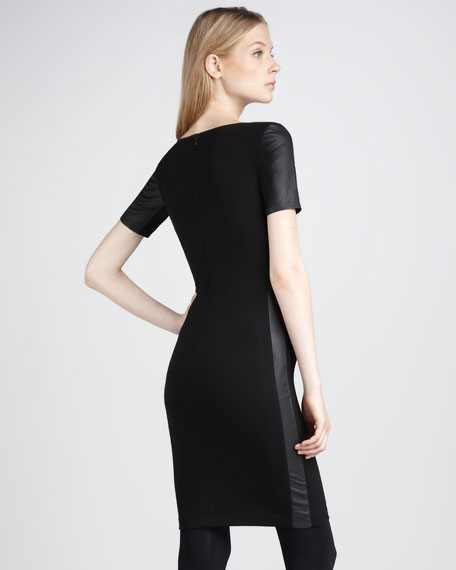 Leather-Sleeve Dress