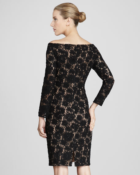 Off-Shoulder Long-Sleeve Lace Cocktail Dress