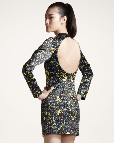 Printed Cutout-Back Dress