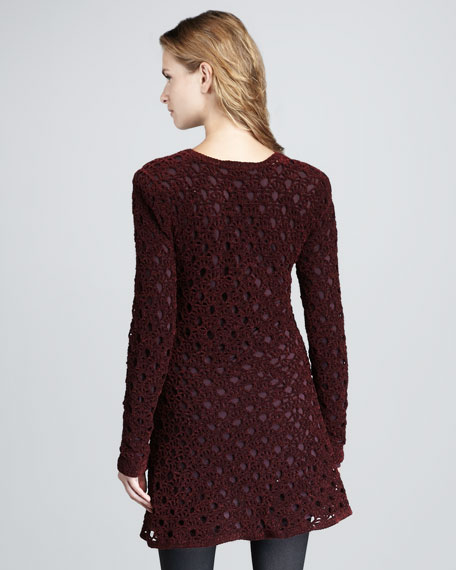 Keify Open-Knit Long-Sleeve Dress