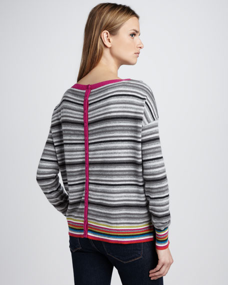 Striped Button-Back Sweater
