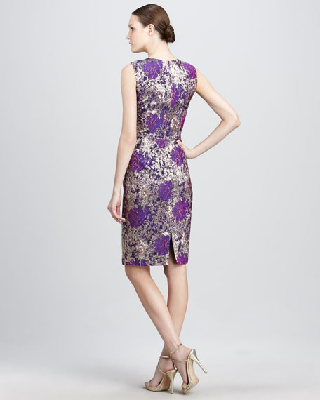 Metallic Floral Cocktail Dress