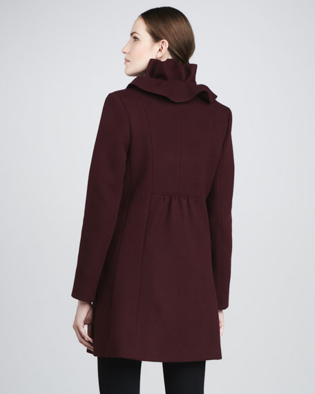 Cate Ruffle-Collar Wool Coat