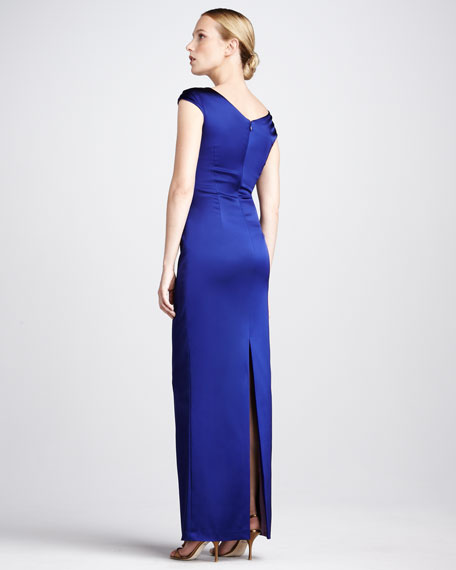 Asymmetric Ruched Cocktail Gown, Cobalt