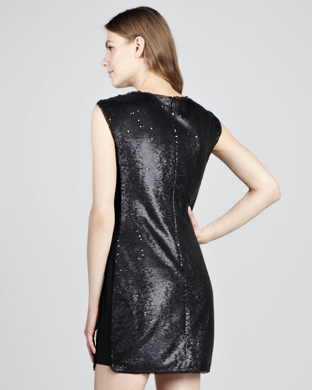 Sequined Cap-Sleeve Minidress