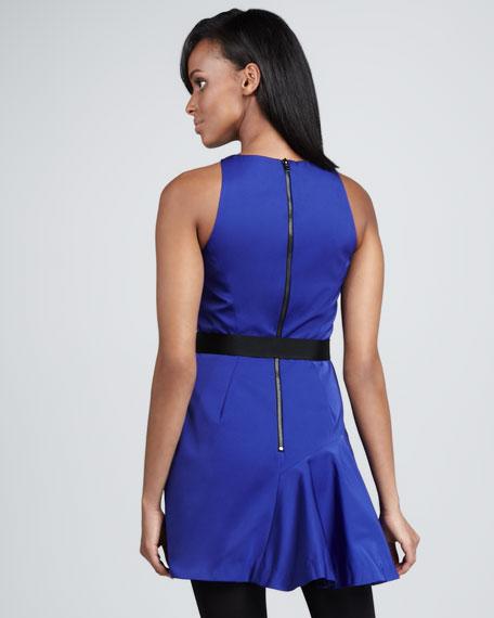 Saxon Belted Satin-Panel Dress