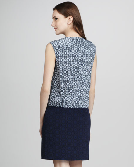 V-Neck Eyelet-Print Shift Dress