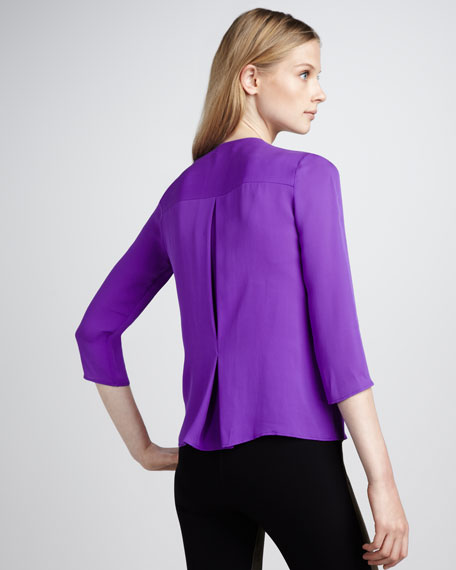 Silk Zip Blouse, Amethyst