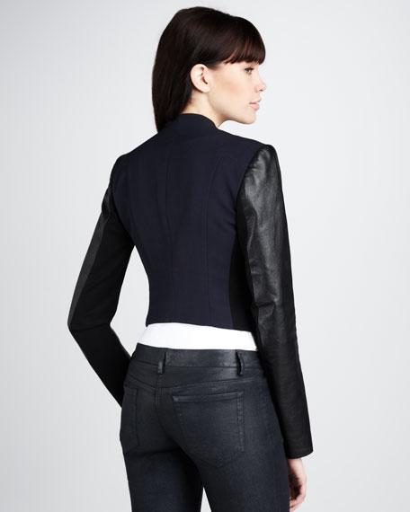 Leather-Sleeve Blazer