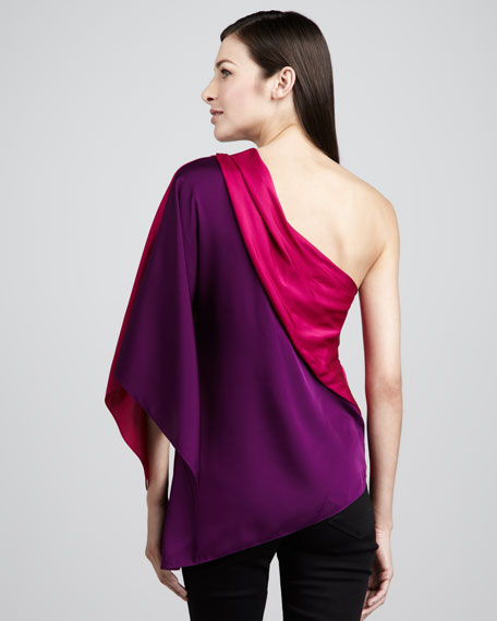 Sandrine Colorblock One-Shoulder Blouse