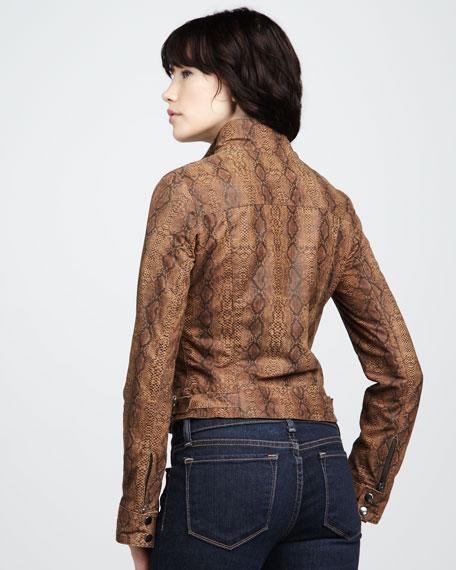 Blaze Snake-Print Leather Jacket