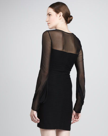 Hilly Pleated Sheer-Panel Dress