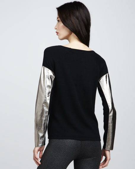 Leather-Sleeve Sweater, Black