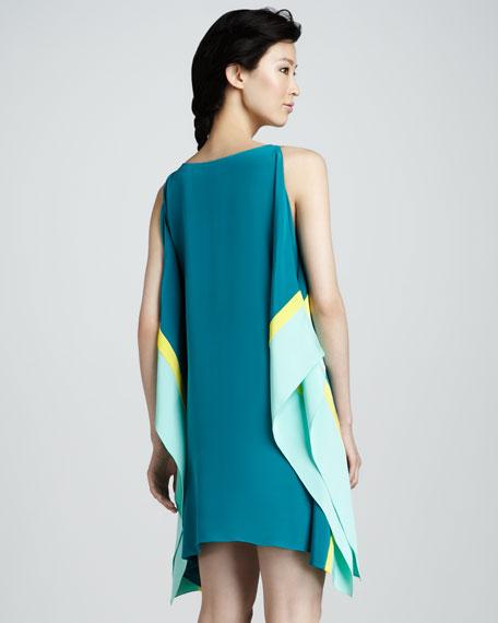 Colorblock Sleeveless Kimono Dress