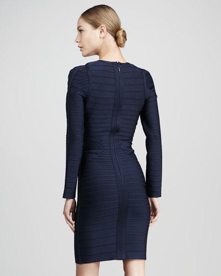 Long-Sleeve Bandage Dress, Navy
