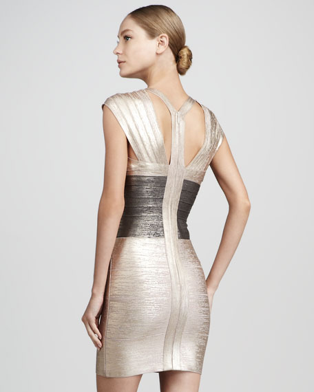 Metallic Colorblock Bandage Dress