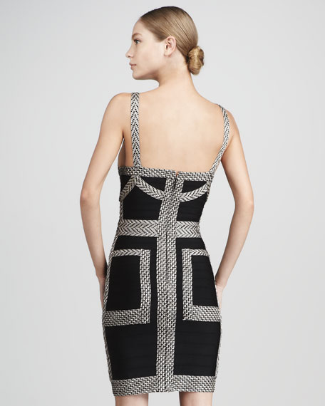 Pattern-Trim Bandage Dress