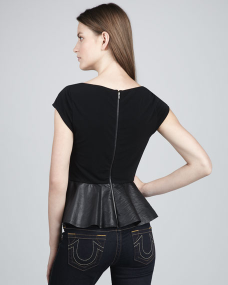 Ella Leather-Peplum Tee