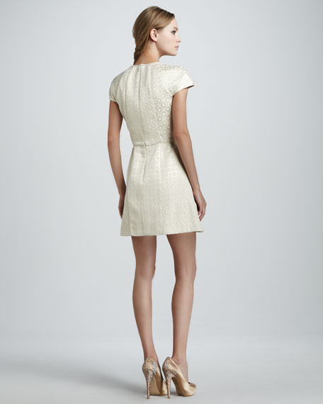 Pleated Jacquard Dress