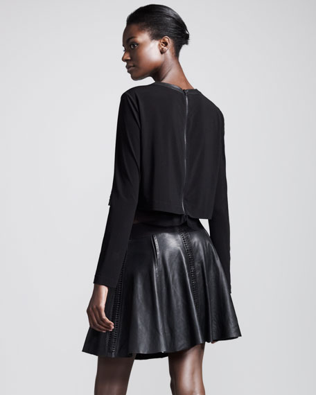 Renard Raw-Edge Leather Skirt