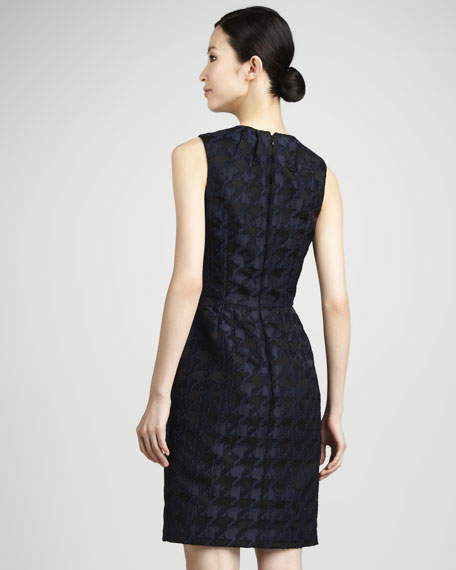 Houndstooth-Jacquard Sheath Dress