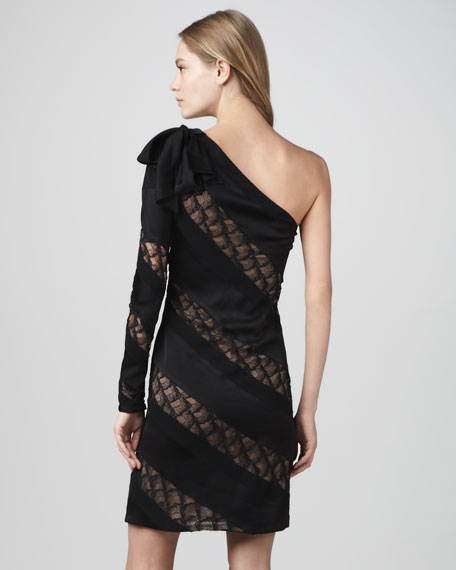 Noemi One-Sleeve Lace-Panel Dress