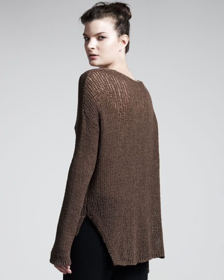 Looped V-Neck Pullover, Chestnut