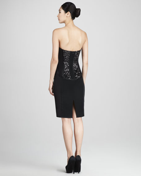 Strapless Sequined Cocktail Dress