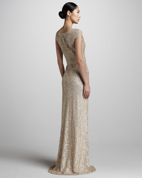 Sequined Cap-Sleeve Gown