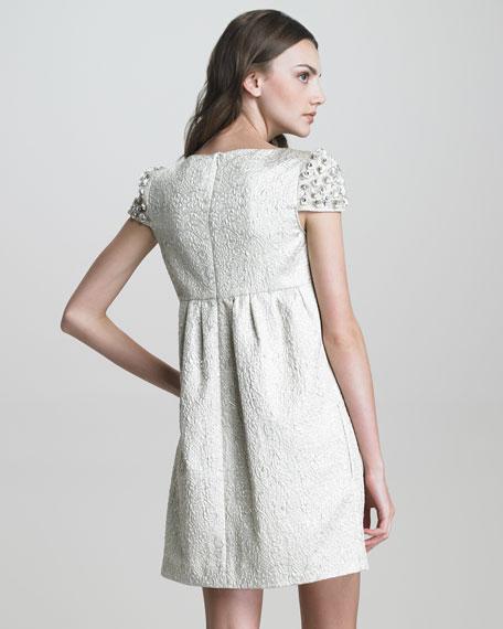 Floral Cap-Sleeve Brocade Dress