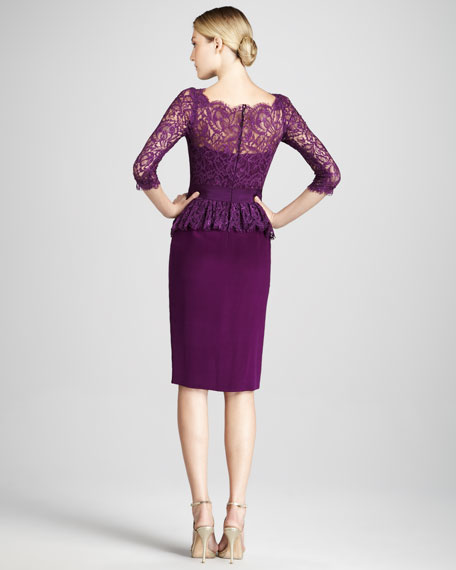 Three-Quarter Sleeve Cocktail Dress with Peplum