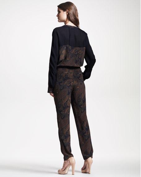 Maggie Paisley-Print Jumpsuit