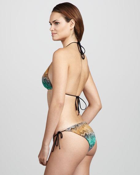 Snake-Print Zigzag String Bikini, Multicolor