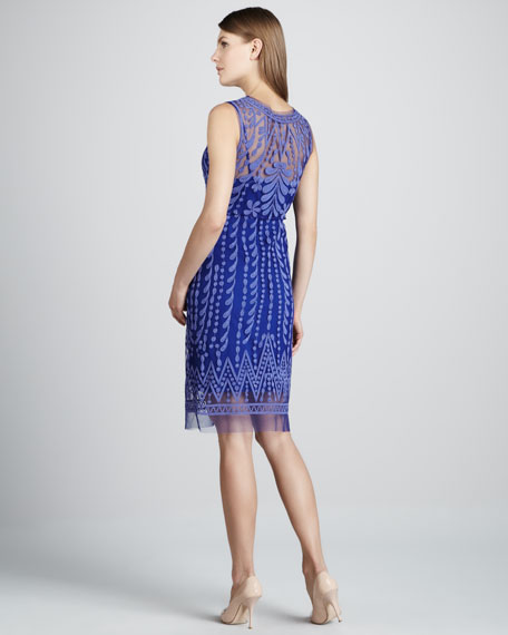 Embroidered Favorite Sheer-Trim Dress, Galaxy