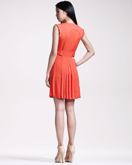 Pleated Cap-Sleeve Dress
