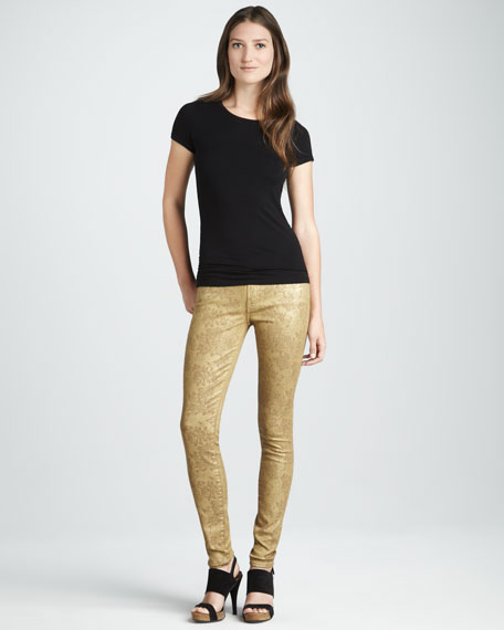 Skinny Gold Metallic Floral-Print Jeans