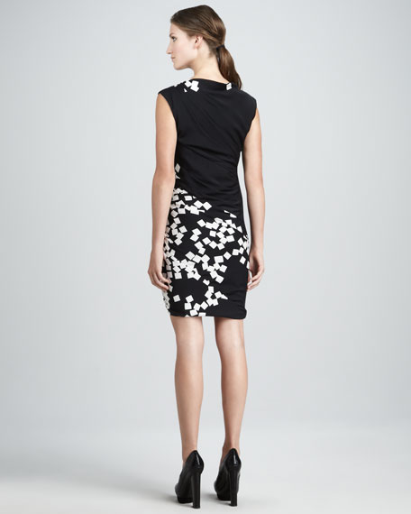 Ameerah Ruched Square-Print Dress