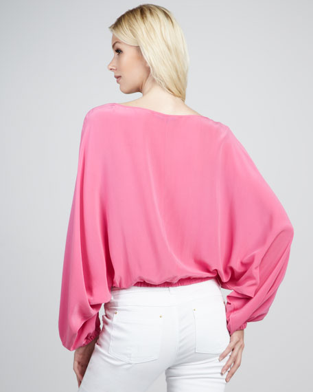 Michelle Button-Front Silk Top