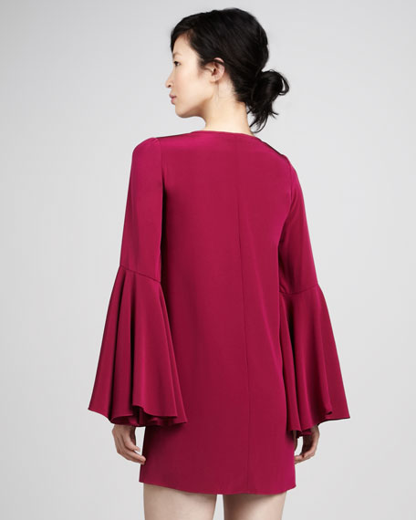 Mabel Bell-Sleeve Shift Dress, Raspberry