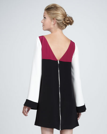 Sabrina Bell-Sleeve Colorblock Dress