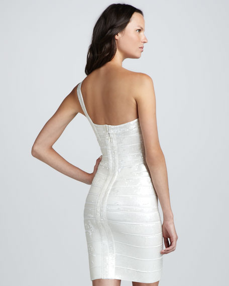Sequined One-Shoulder Bandage Dress
