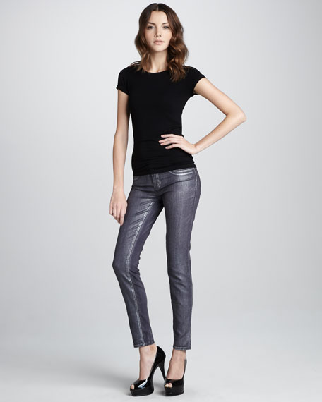 Coated Metallic Jeggings, Purple Bullet