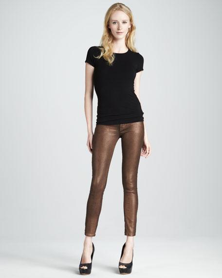 Nico Copper Minx Glitter Mid-Rise Super Skinny Jeans